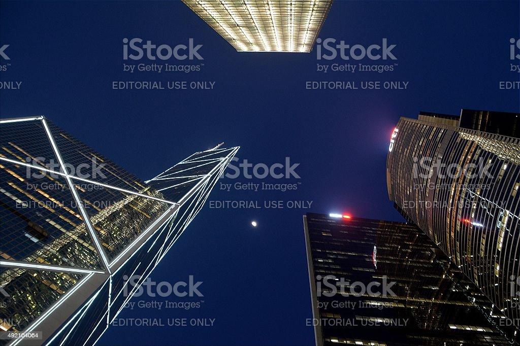 Tall buildings in Hong Kong island stock photo