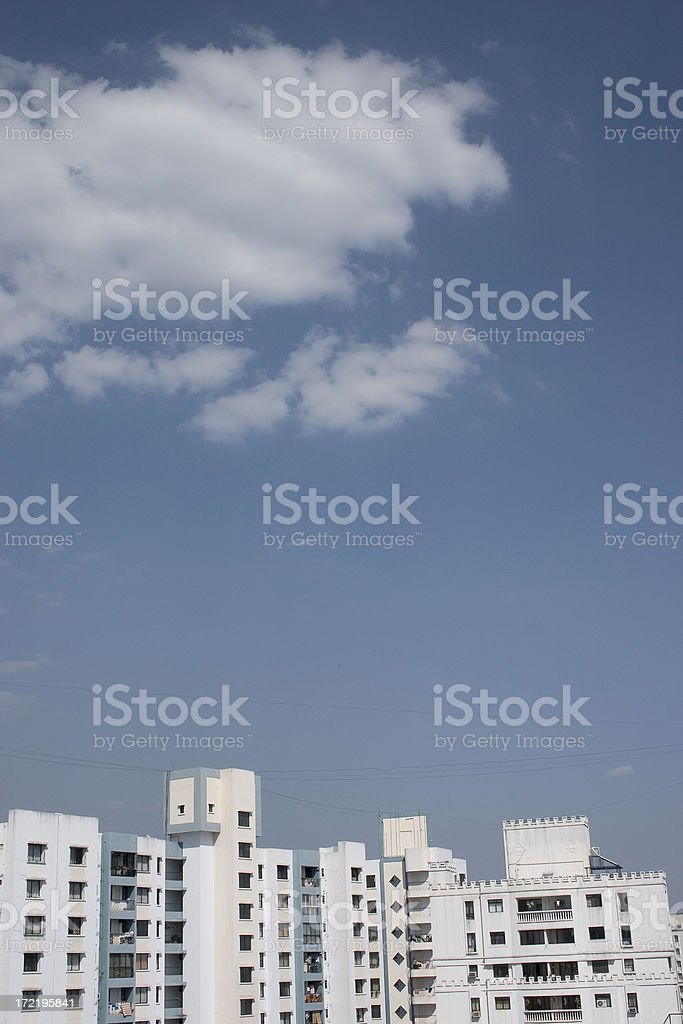 Tall buildings in India with a cloudy background stock photo