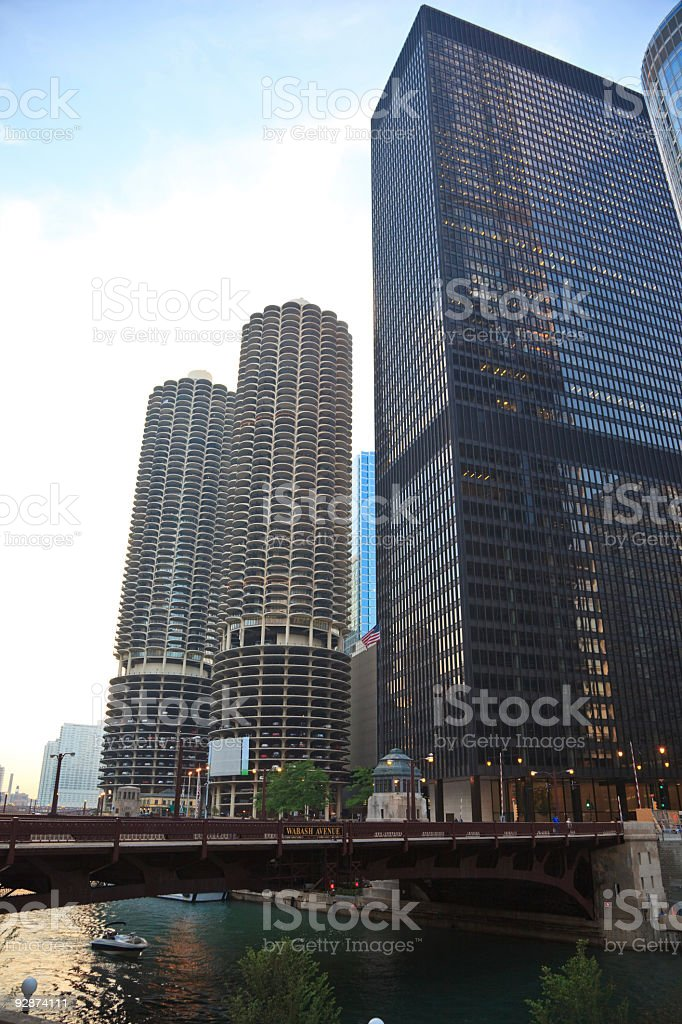 Tall Buildings in Wabash Avenue, Chicago stock photo