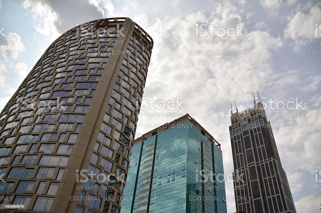 Tall buildings over Xin Tiandi district, shanghai stock photo