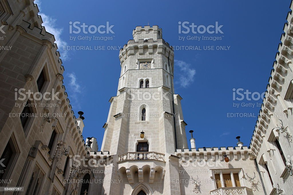 Tall castle tower stock photo
