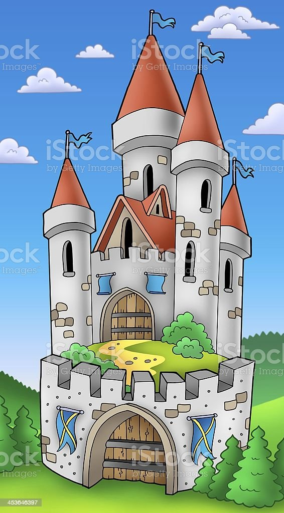 Tall castle with fortification stock photo