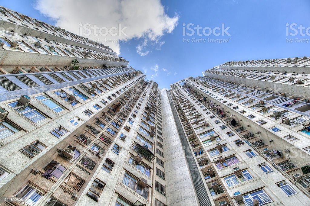 Tall Concrete Highrise Housing in Hong Kong stock photo