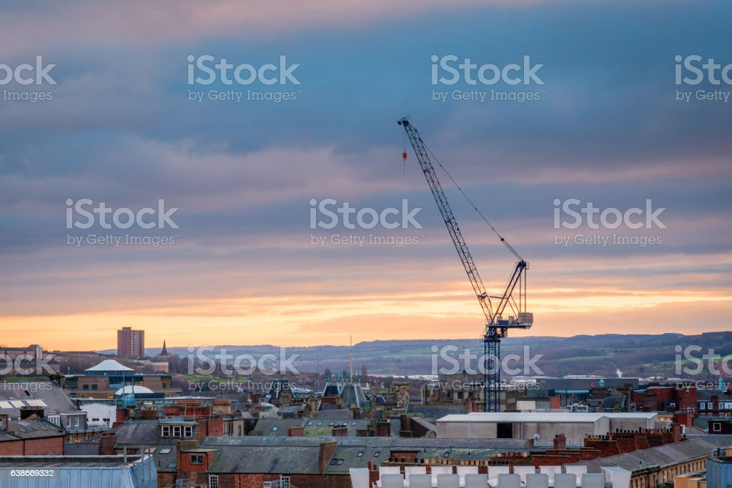 Tall Crane in Newcastle Skyline stock photo