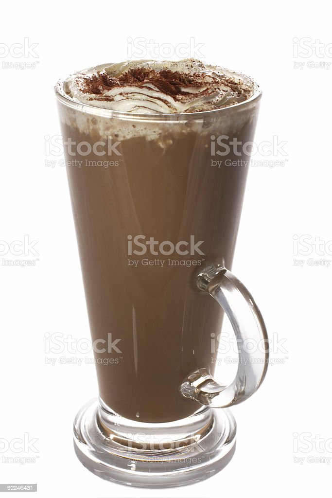 tall cup of fresh coffee latte with wipped cream isolated stock photo