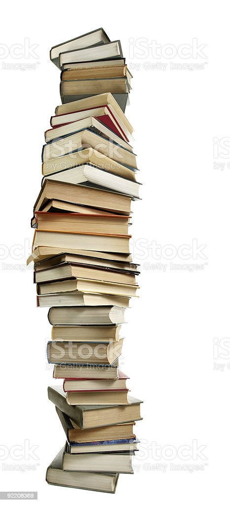 Tall curved stack of large books royalty-free stock photo