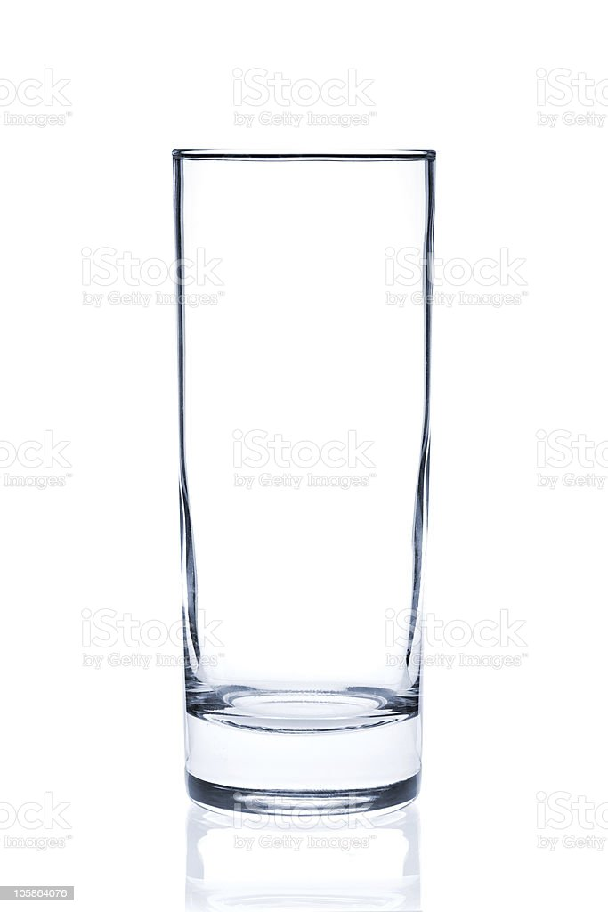 Tall empty glass on a white background stock photo