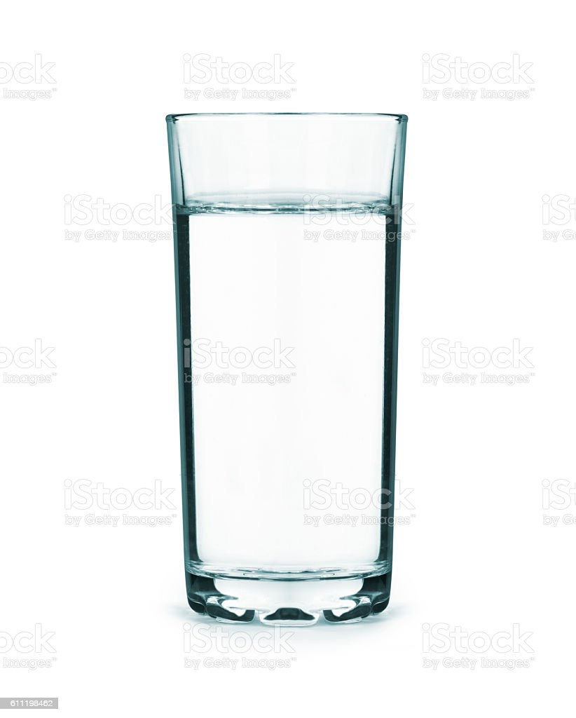 tall glass full of water isolated on white stock photo
