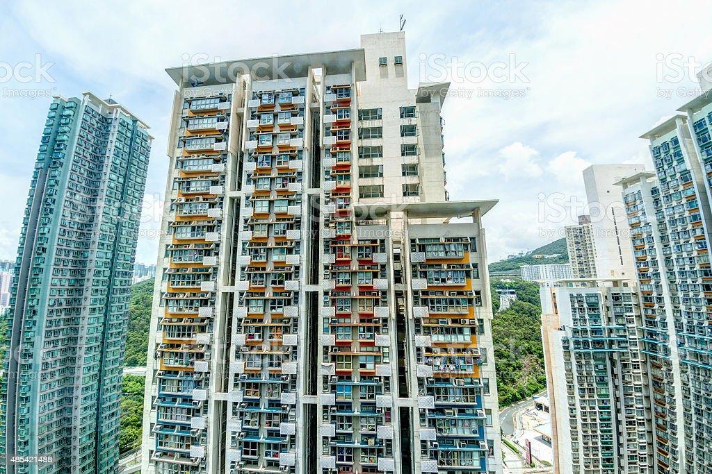 Tall Highrise Housing in Hong Kong stock photo