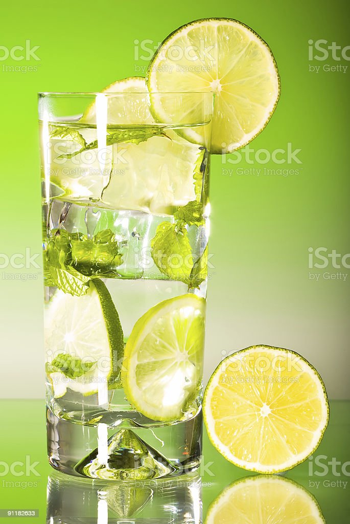 Tall iced mojito with lime royalty-free stock photo