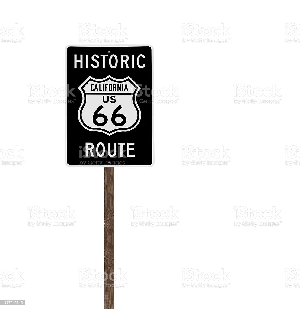 Tall Isolated Historic Route 66 Sign on Wood Post royalty-free stock photo
