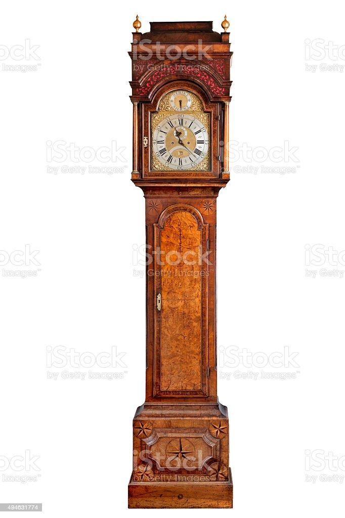 tall longcase grandfather clock walnut wood with inlayed stars i stock photo