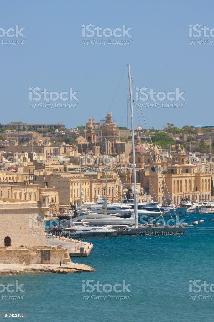 tall mast ship in valletta, malta stock photo