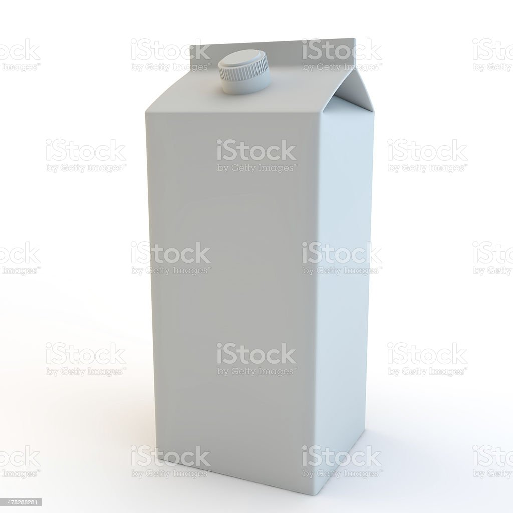 tall milk carton 3d render isolated on white background stock photo
