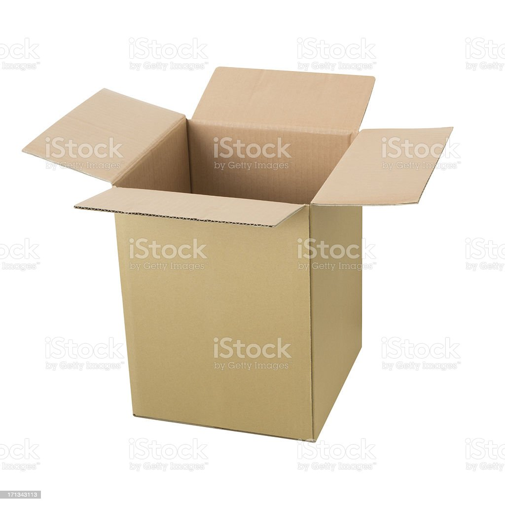 Tall Open Cardbox Box - Isolated stock photo