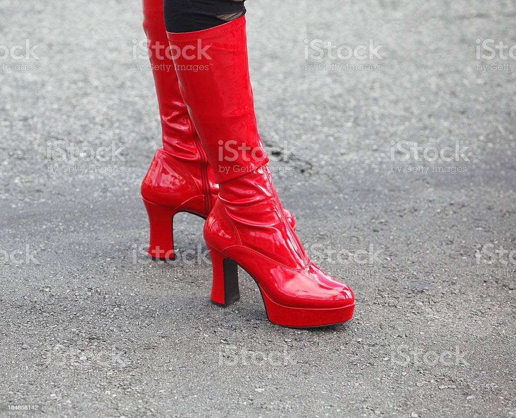 Tall Red Vinyl Boots stock photo