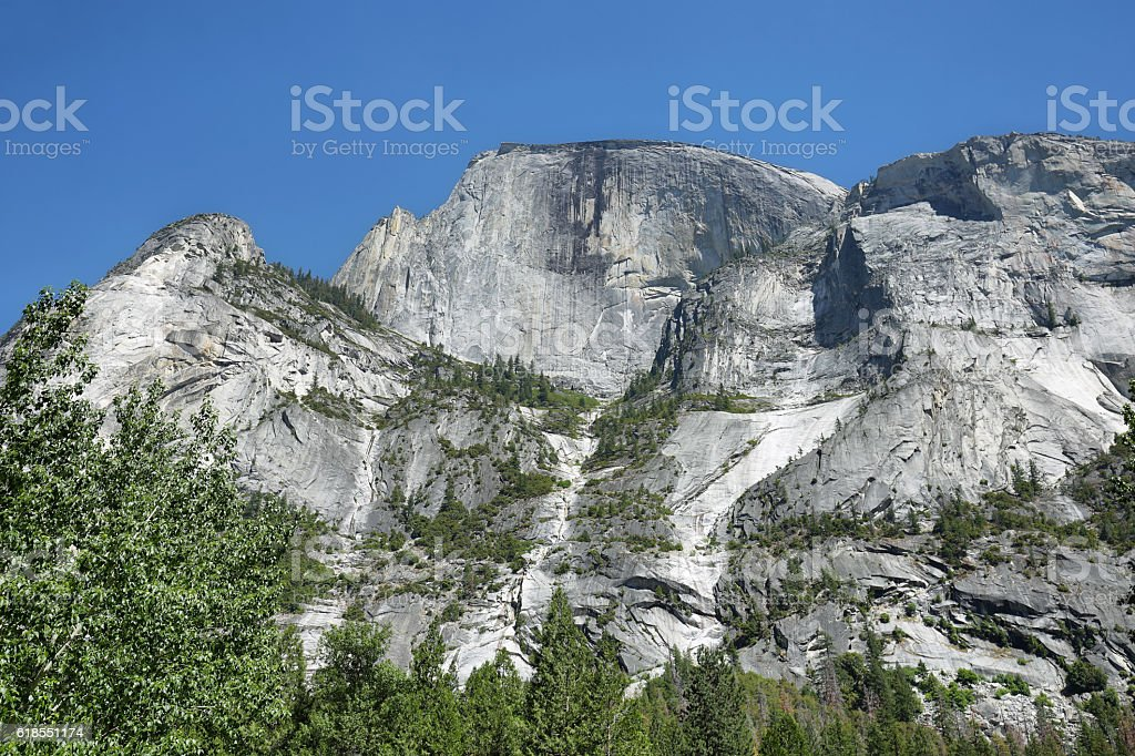 Tall rocky peaks in Yosemite National Park stock photo