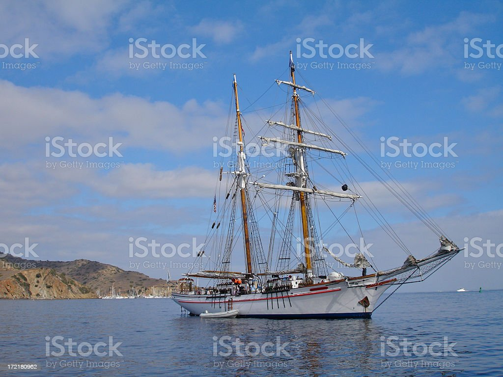Tall Sailing Ship Anchored in Calm Waters Off Catalina Island royalty-free stock photo