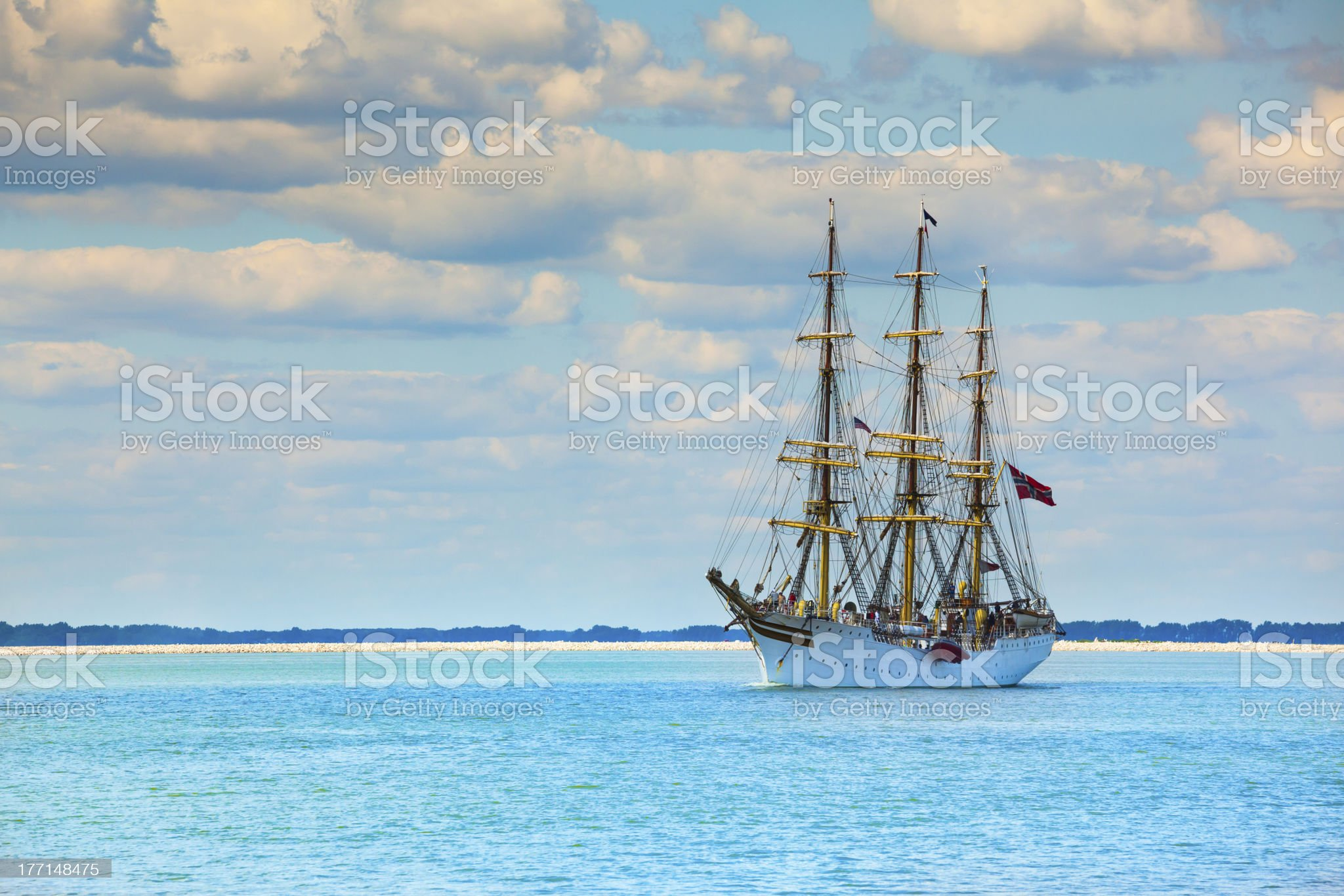Tall Sailing Ship in Turquoise Waters royalty-free stock photo