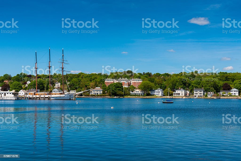 Tall sailship in Mystic Connecticut stock photo