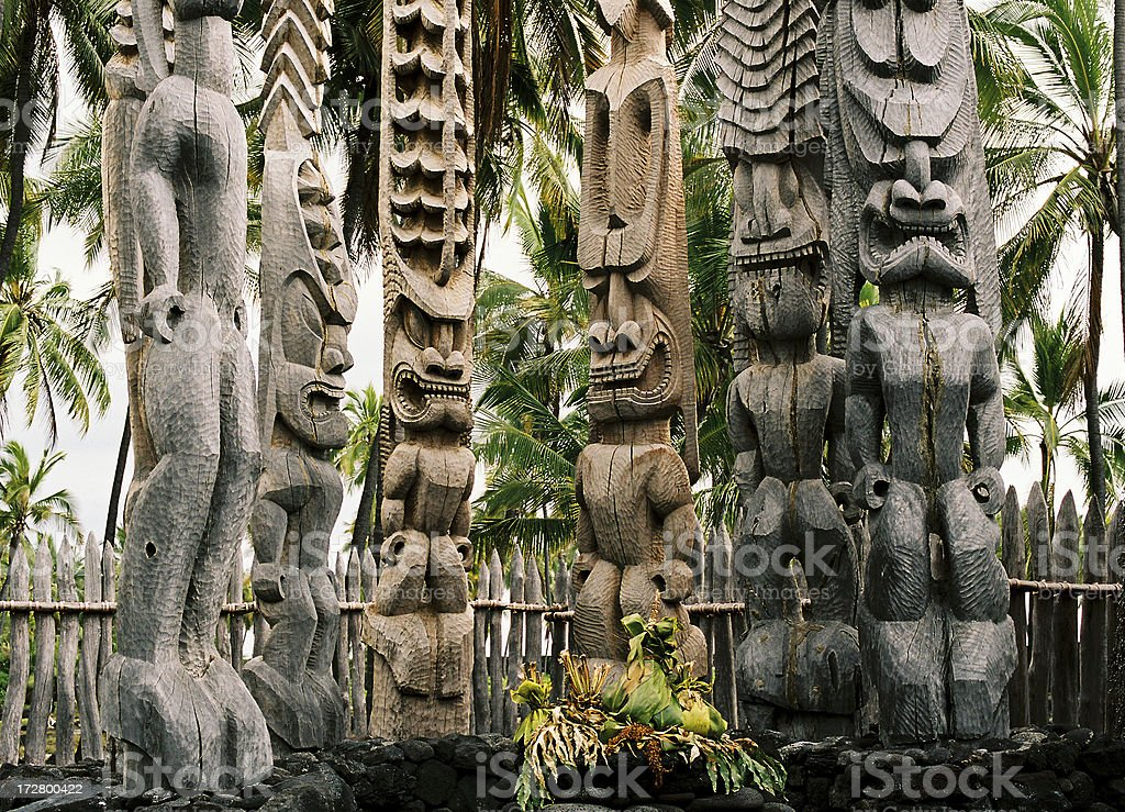 Tall scary tikis on Hawaii stock photo