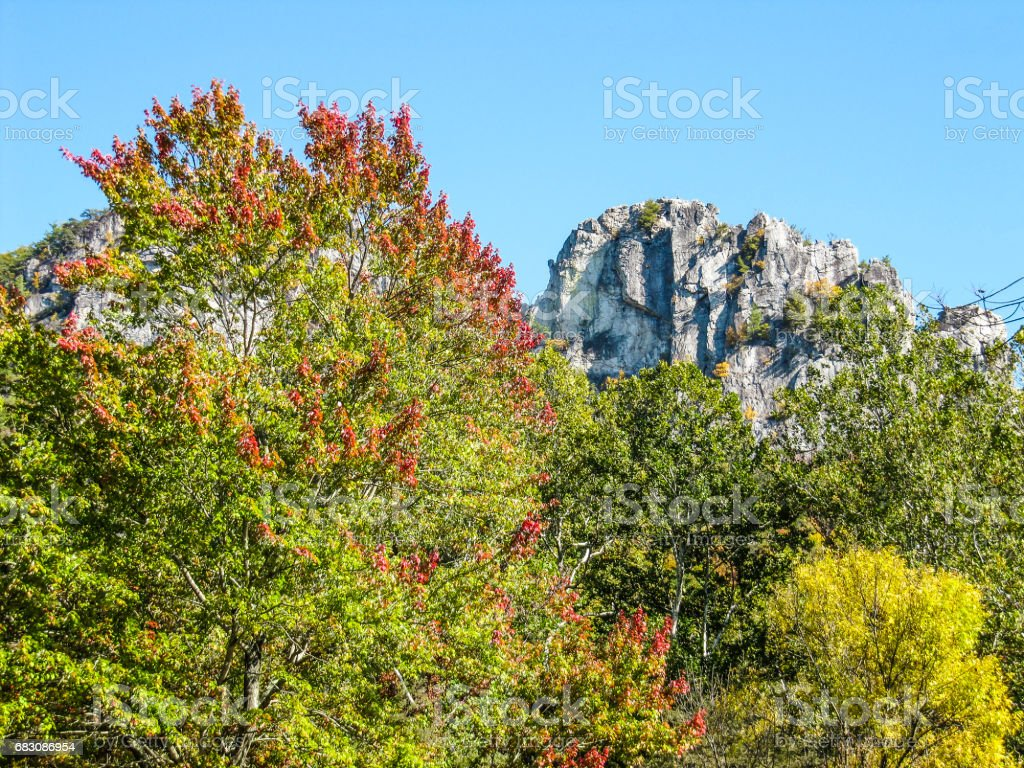Tall Seneca Rocks cliffs in West Virginia during autumn with red and yellow foliage on trees stock photo