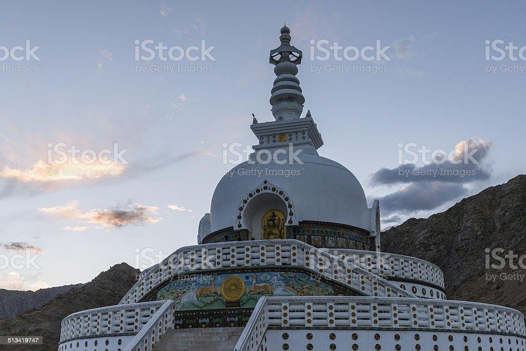 Tall Shanti Stupa near Leh, Ladakh, India stock photo