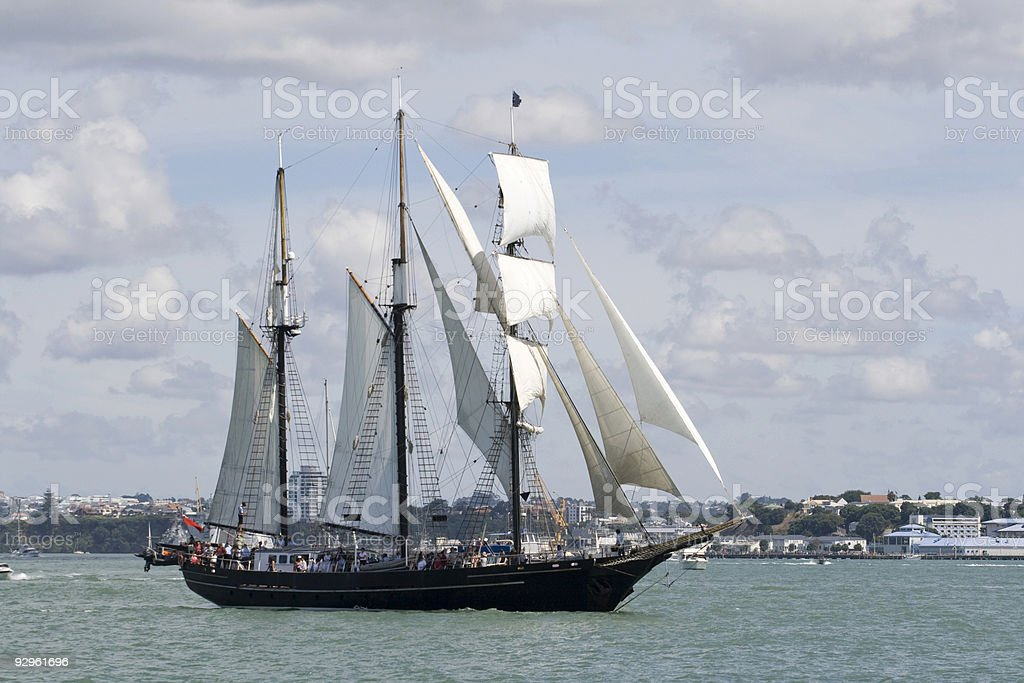 Tall Ship - A Black Brigantine Side On royalty-free stock photo