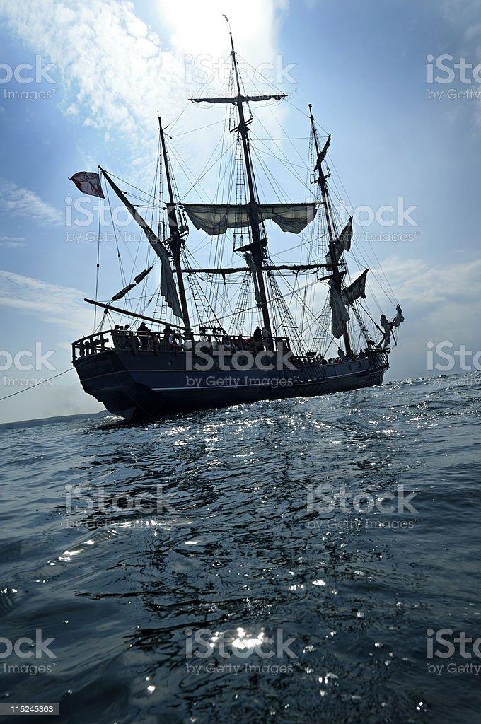 Tall ship anchored off Cornwall Coast stock photo