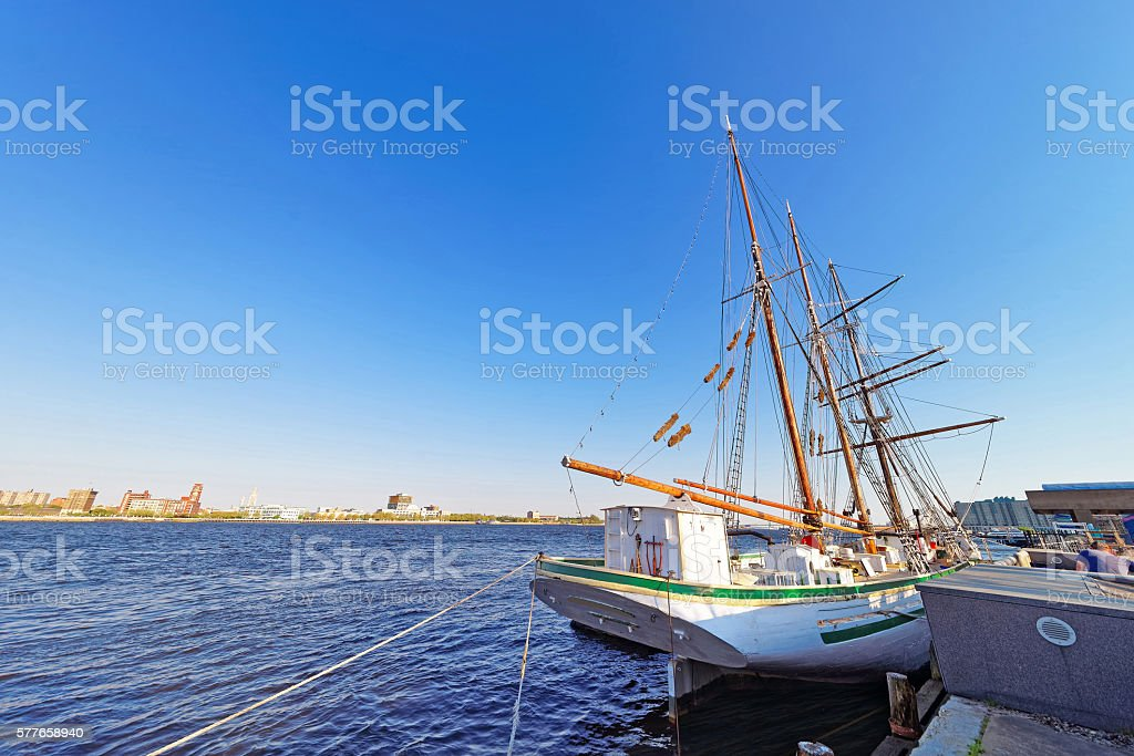 Tall ship at the waterfront of Delaware River in Philadelphia stock photo