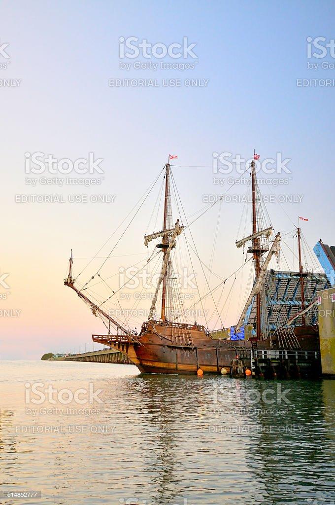Tall Ship Coming Through At Sunrise stock photo