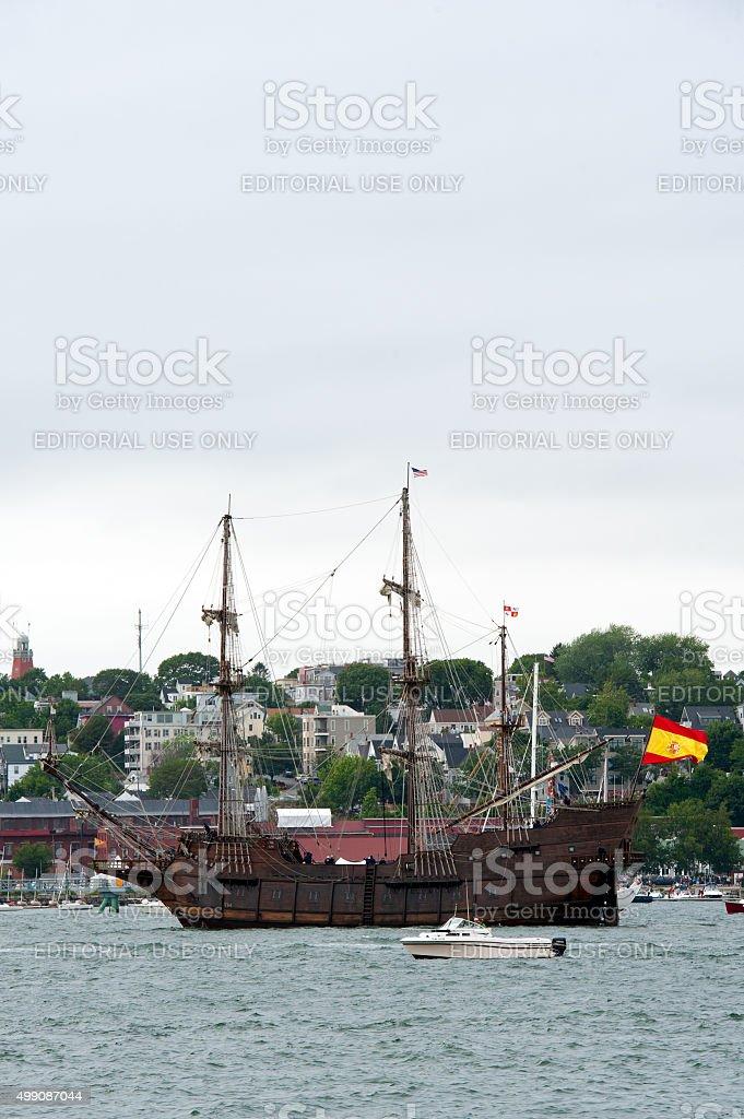 Tall Ship Galeón Andalucía in Portland Harbor. stock photo
