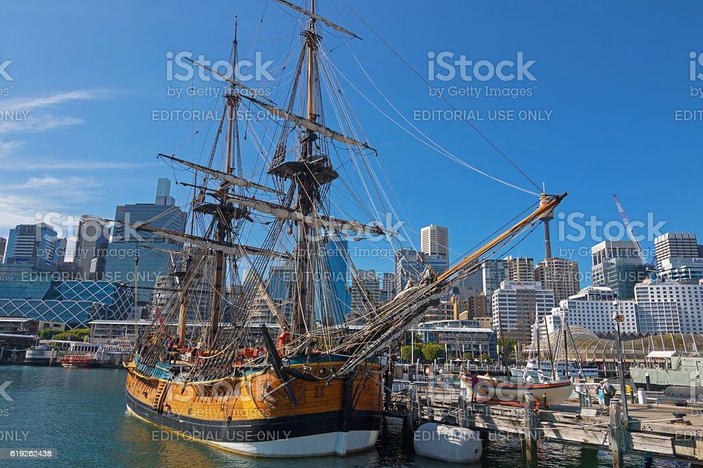 Tall Ship HMB Endeavour at Australian National Maritime Musuem, Sydney stock photo