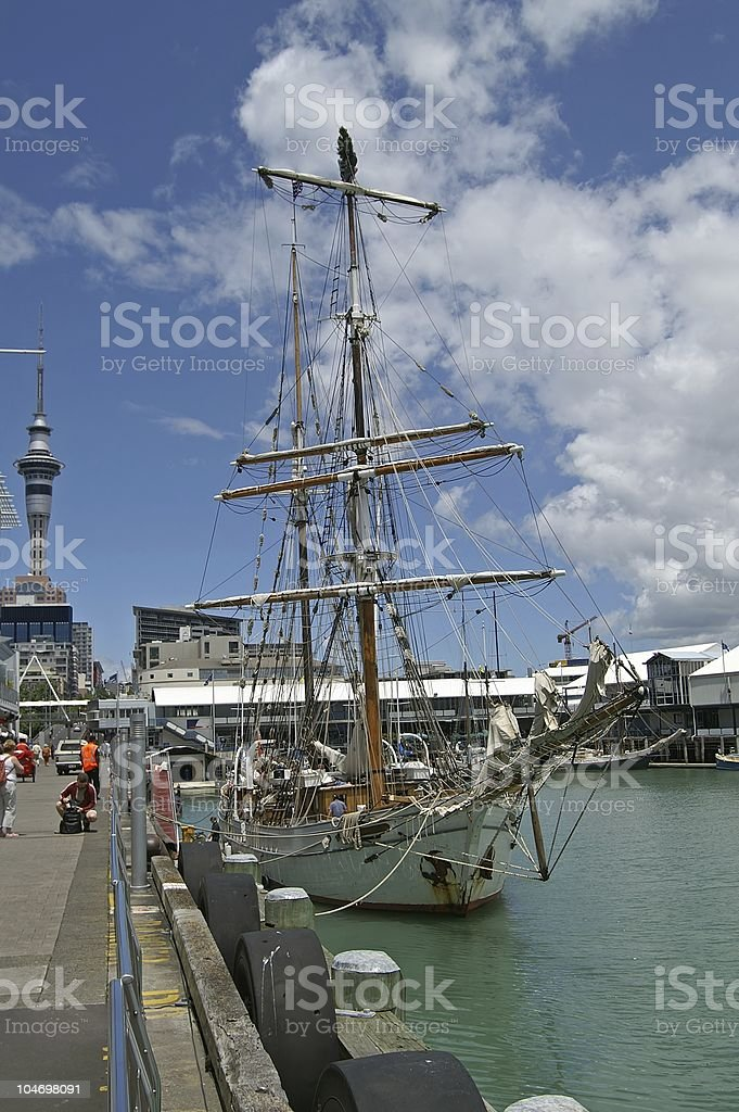 Tall ship in Auckland, New Zealand royalty-free stock photo