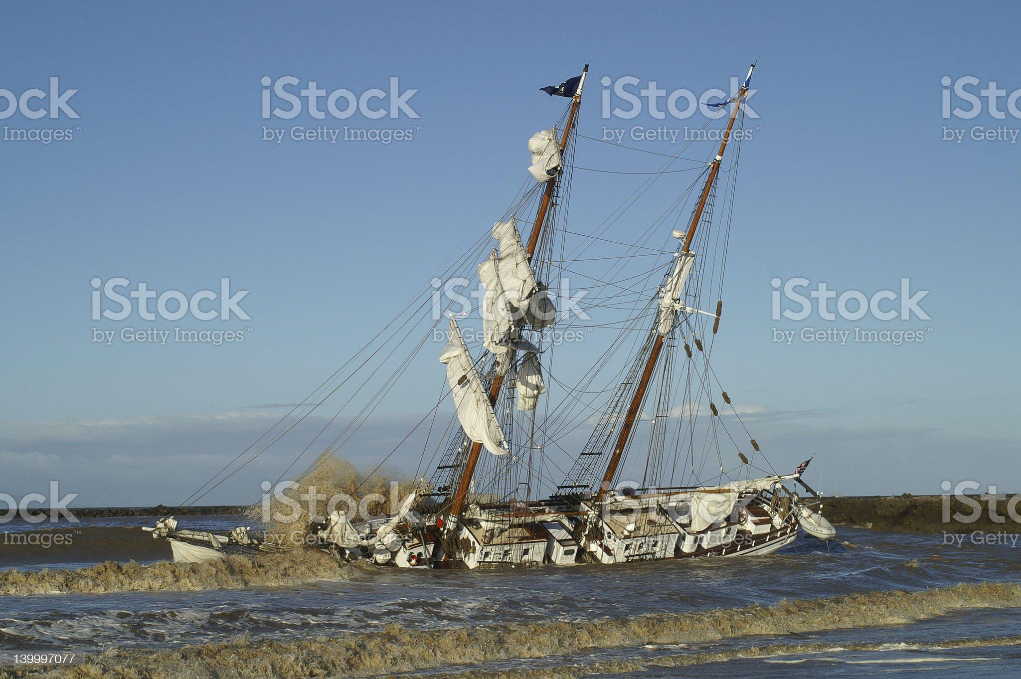 Tall Ship in Distress royalty-free stock photo
