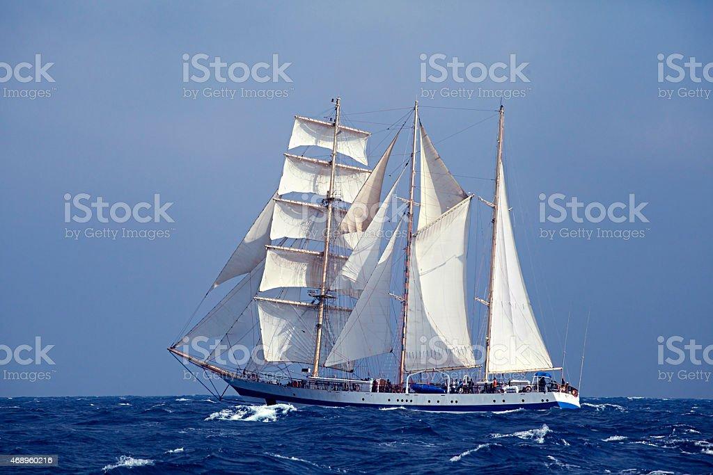 Tall ship in the sea stock photo