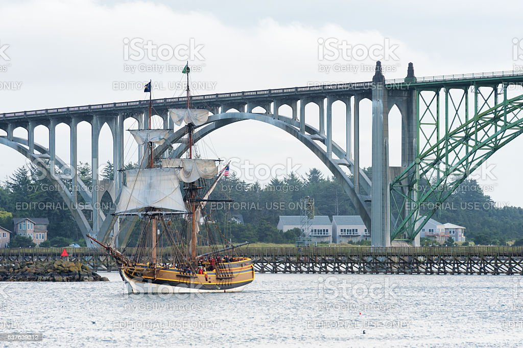 Tall ship Lady Washington in Newport, Oregon stock photo