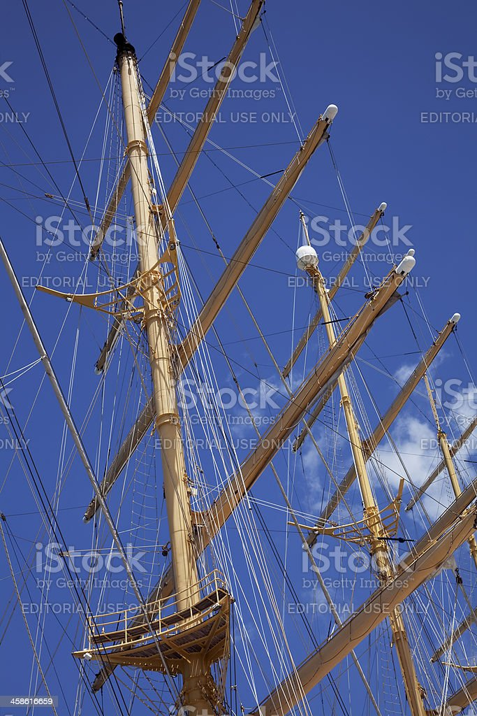 Tall ship masts and rigging stock photo