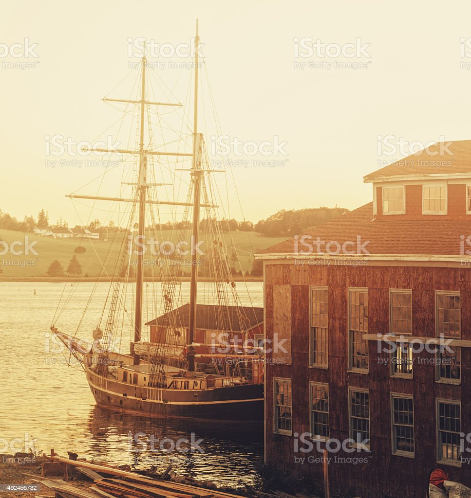 Tall Ship on Waterfront stock photo