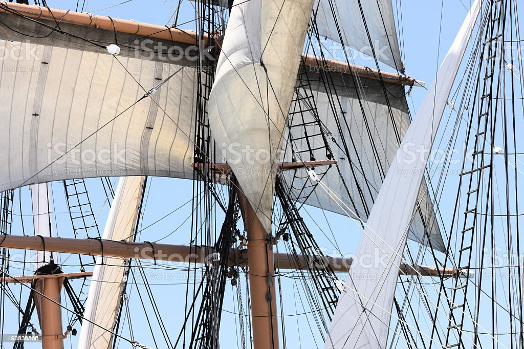Tall Ship Rigging Mast Sails stock photo