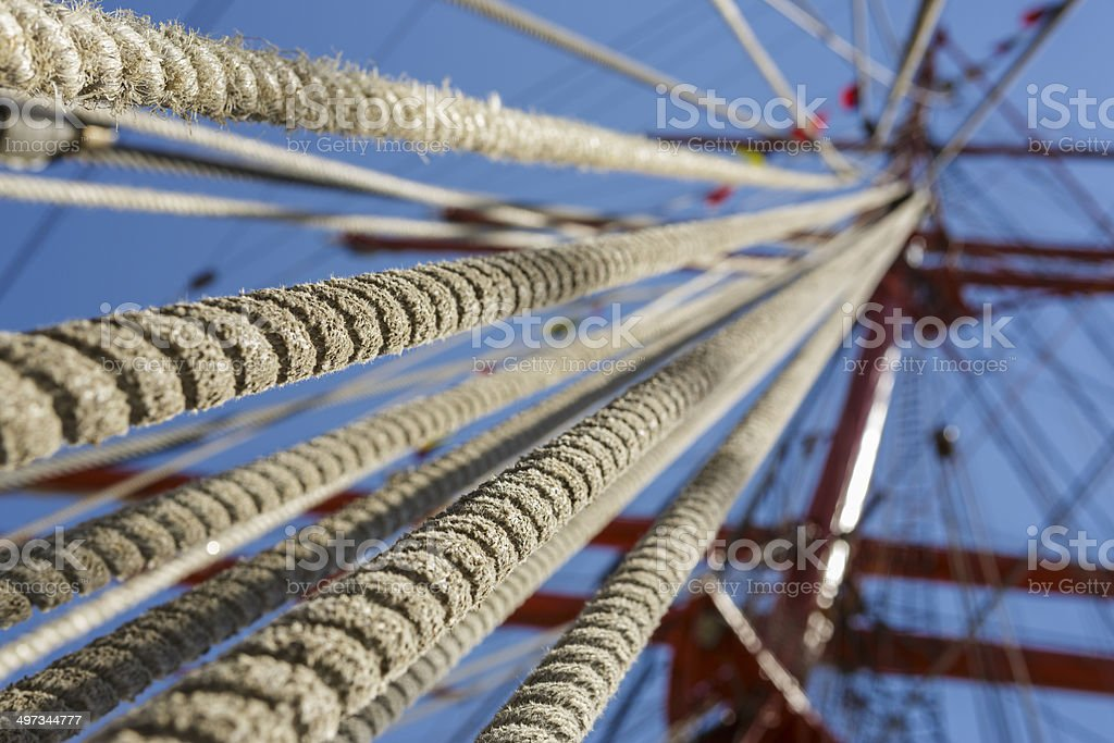 Tall ship rope rigging stock photo
