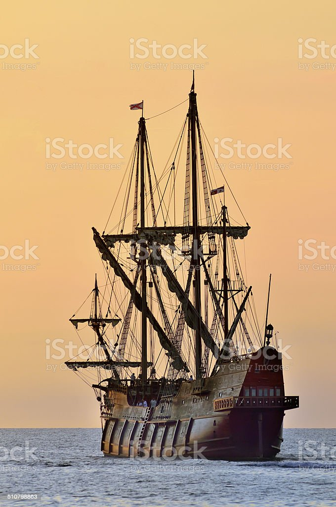 Tall Ship Sailing The Atlantic Ocean stock photo