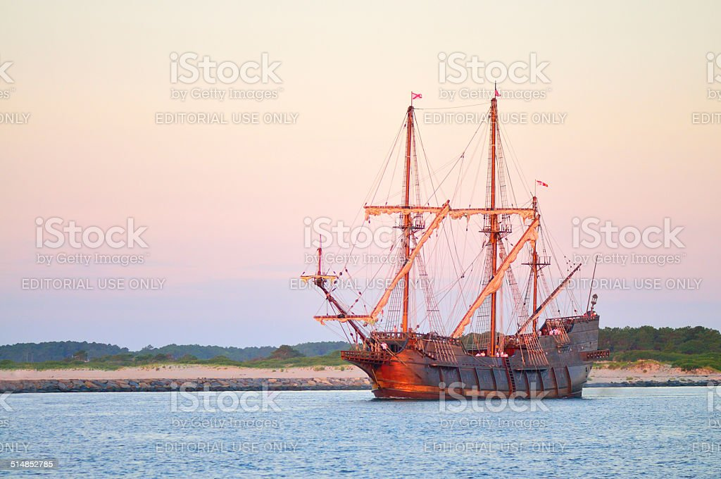 Tall Ship Setting Out At Sunrise stock photo