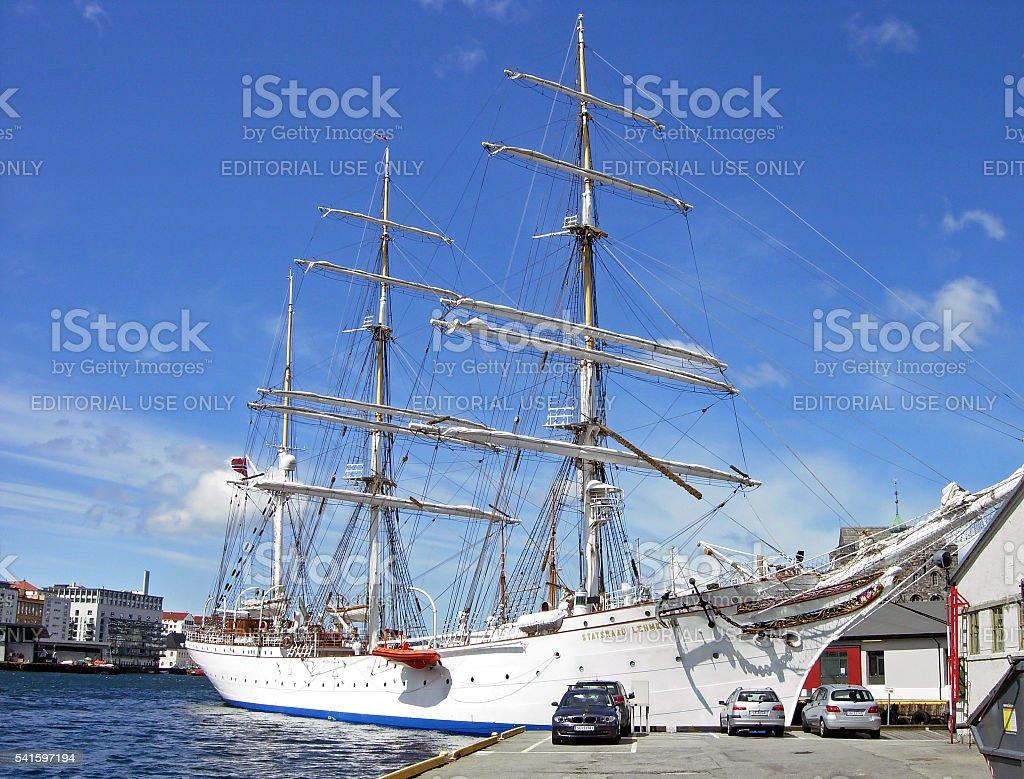 Tall Ship Statsraad Lehmkuhl in Bergen stock photo