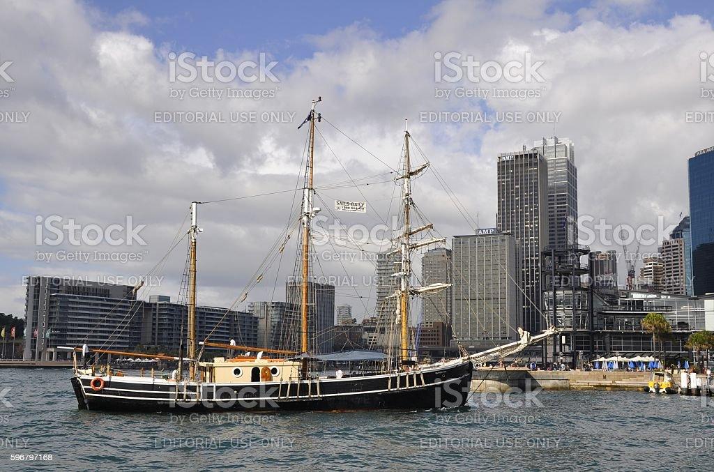 Tall Ship Sydney Harbor stock photo