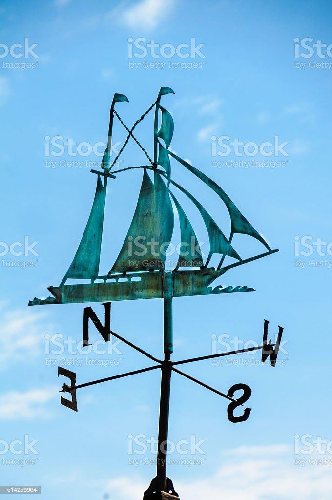 Tall Ship Weathervane stock photo