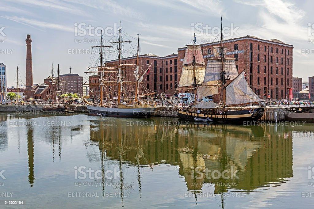 Tall ships, Albert Dock, Liverpool stock photo