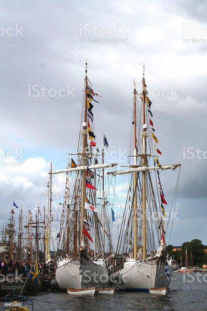 Tall ships ay anchor stock photo