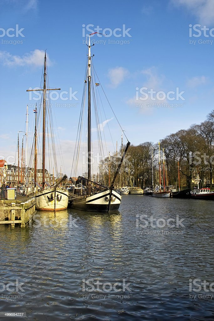 Tall ships docked in Alkmaar royalty-free stock photo
