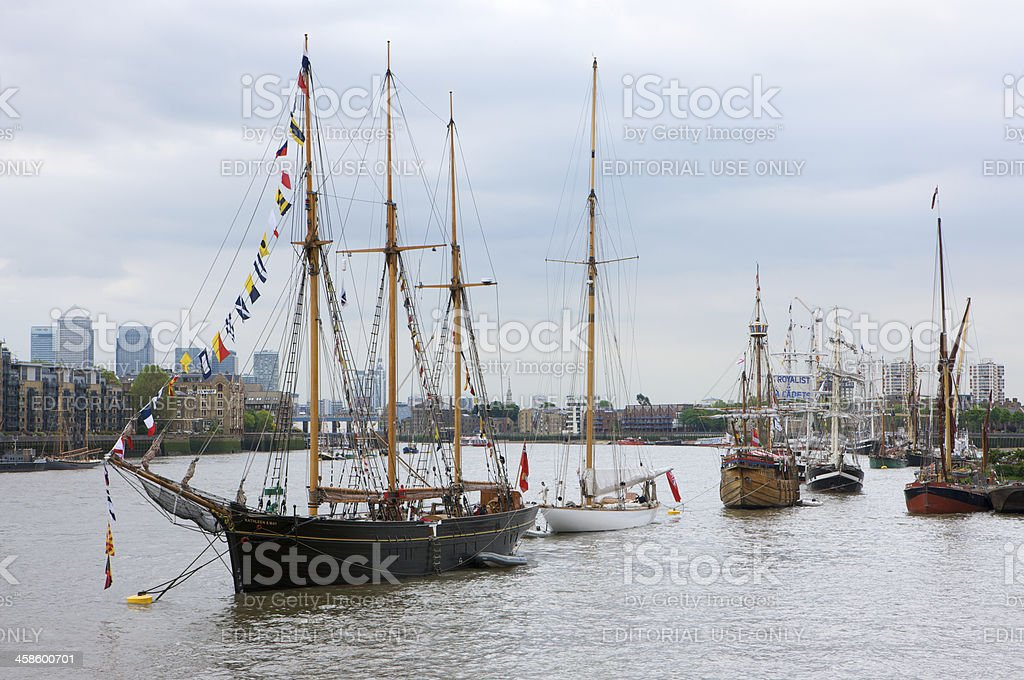 Tall ships for The Queen's Diamond Jubilee River Pageant royalty-free stock photo